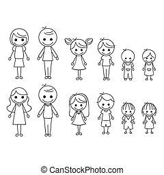 figur, familie, pind