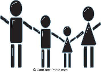 figur, holde, pind, familie, hænder