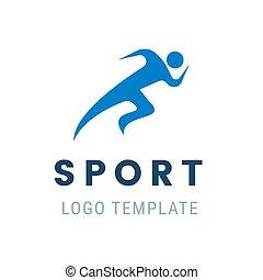 figur, løber, abstrakt, faste, stylized, løb, vektor, illustration, logo., atlet, man.