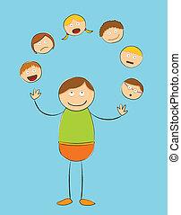 figur, peopl, -, käpp, grov, jonglera