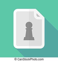 figur, pfand, langer, schach, schatten, dokument