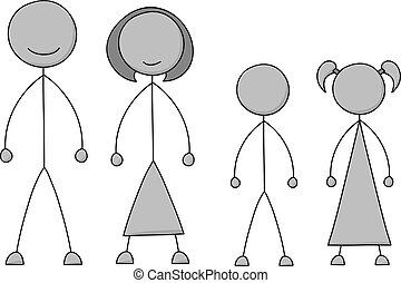 figur, pind, familie