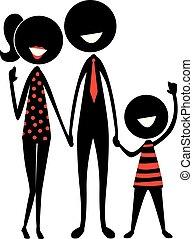 figur, silhuet, pind, familie