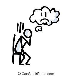 figura, bastone, concetto, icona, dolore, guaio, chair., emozione, illustration., motivo, bujo, vettore, 10., triste, disegnato, expression., seduta, scombussolare, disperazione, mano, pensiero, solo, bubble., eps, semplice