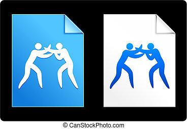 figura, boxe, vara, fundo
