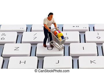figura, com, shopping, ligado, teclado computador