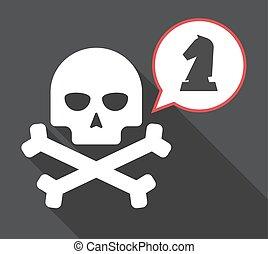 figura, cranio, cavaleiro, longo, xadrez, sombra