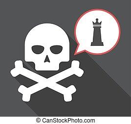 figura, cranio, rainha, longo, xadrez, sombra