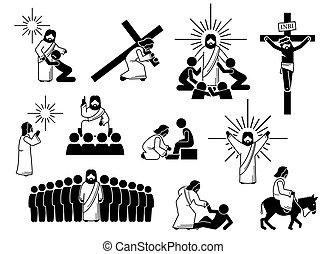 figura, cristo, iconos, pictogram., palo, jesús