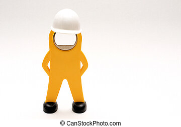 figura, di, uno, lavoratore, con, casco