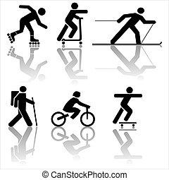 figura, esercitarsi, andando gita, sciare