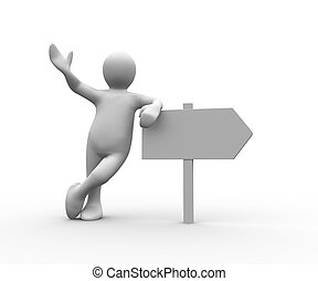 figura humana, encima, propensión, poste indicador, blanco