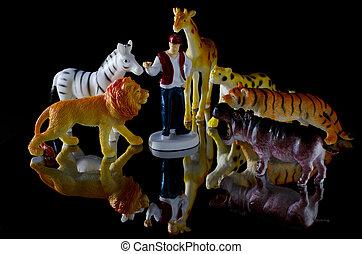 figura humana, y, animales del juguete