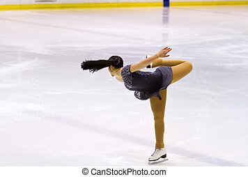 figura, kobieta, łyżwiarz