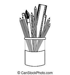 figura, lápices coloreados, en, tarro, icono