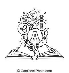 figura, libro, abierto, a, conocimiento, imagen