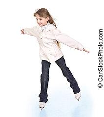 figura, niña, joven, skating..