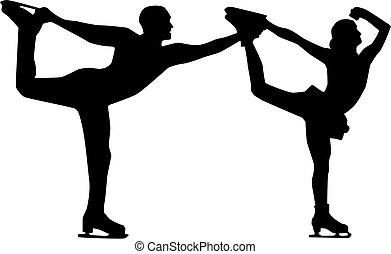 figura patinador, hombre y mujer