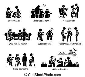 figura, pictogram, lavorante, icons., bastone, sociale