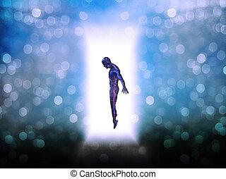 figura, porta, maneira, luz