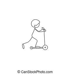 figura, scooter, vara, criança, montando, ícone