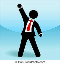 figura, successo, su, affari, bastone, pugno, braccio, uomo