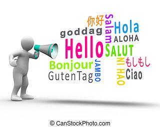 figura, tło, megafon, biały, odkrywczy, powitanie, języki, ...