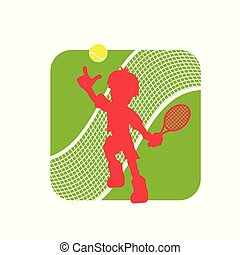 figura, tennis, illustrazione, giocatore, logotipo, casato