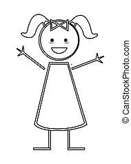 figura, vara, menina, feliz, pigtails, ícone