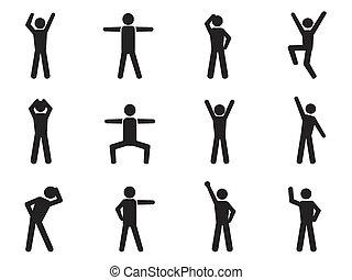 figura vara, postura, ícones