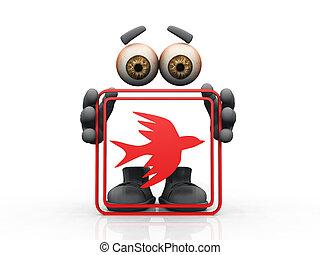 figura, znak, ptáček, majetek, konstrukce, červeň