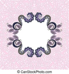 figural lilac gray frame on pink background