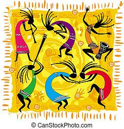 figuras dançantes, ligado, um, fundo alaranjado