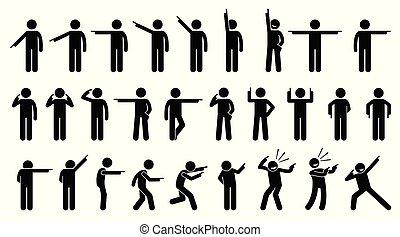 figuras del palillo, de, un, persona, señalar, finger.