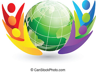 figuras, e, globo, logotipo
