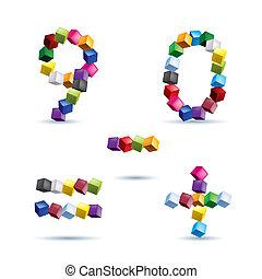 figuras, e, sinais, feito, de, blocos coloridos