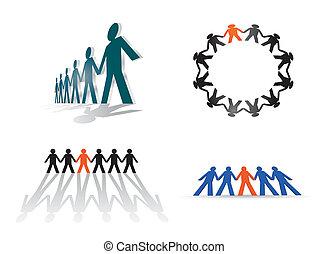 figuras, -, humano, ilustración, fila