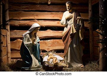 figuras, natividad, afuera, hecho, madera, escena