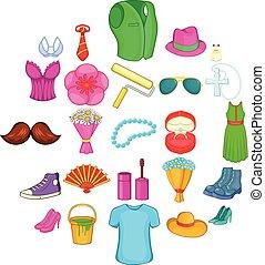 Figuration icons set, cartoon style