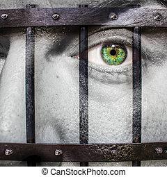 figure, à, oeil vert, et, peint, prision