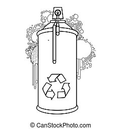 figure aerosol sprays with recycle symbol icon