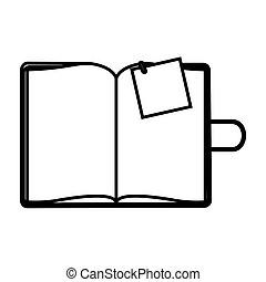 figure agenda with big paper note