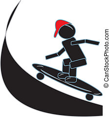 figure bâton, skateboarding