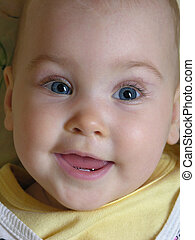 figure, bébé, sourire
