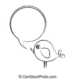 figure bird with chat bubble icon