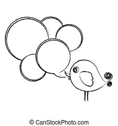 figure bird with many chat bubbles icon