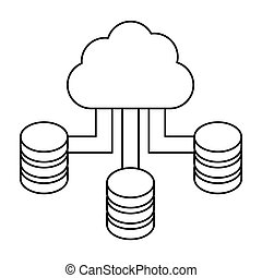 figure blue cloud hosting data center image, vector...