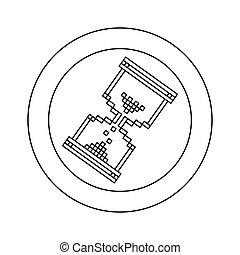 figure blue symbol pixel hourglass cursor icon