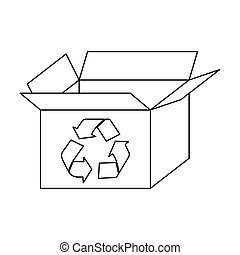 figure box open with recycle symbol icon