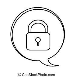 figure bubbles with lock symbol icon